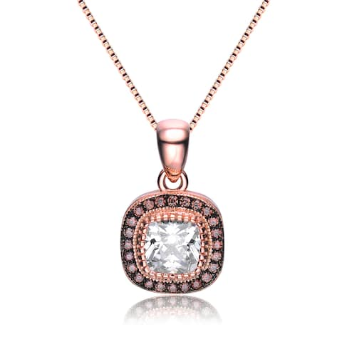 Collette Z Rose Gold Overlay Cubic Zirconia Antique Necklace - White