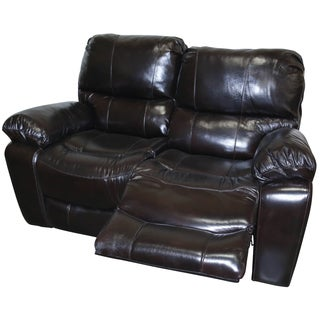 Porter Manchester Black Cherry Top Grain Leather Dual Reclining Loveseat
