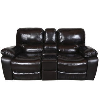 Porter Ramsey Black Cherry Top Grain Leather Power Reclining Loveseat with Center Console