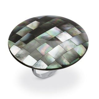 PalmBeach Black/White Metal Mother-Of-Pearl Large Cocktail Ring