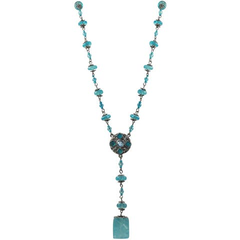 Luxiro Pewter and Lucite Bead Medallion Y Necklace