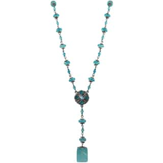 Luxiro Pewter and Lucite Bead Medallion Y Necklace|https://ak1.ostkcdn.com/images/products/13000585/P19745308.jpg?impolicy=medium