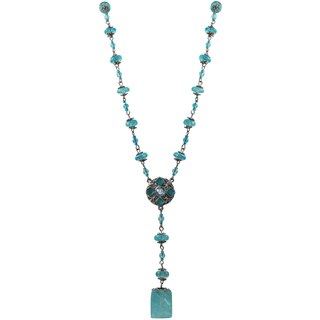 Luxiro Pewter and Lucite Bead Medallion Y Necklace (More options available)