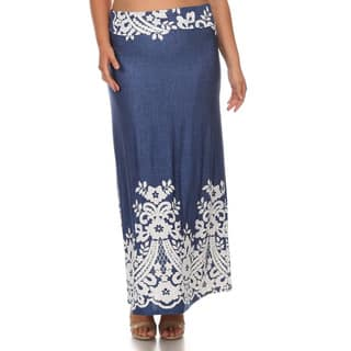 Women's Multicolor Polyester/Spandex Plus-size Floral Border Maxi Skirt|https://ak1.ostkcdn.com/images/products/13000610/P19745311.jpg?impolicy=medium