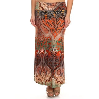 Plus Size Women's Paisley Tapestry Maxi Skirt (3 options available)