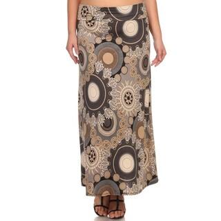 Women's Plus-size Floral Medallion Maxi Skirt