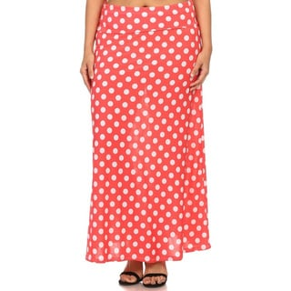 Plus Size Women's Polka Dot Maxi Skirt