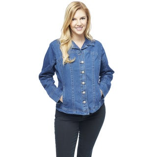 Live A Little Women's Blue Jean Plus Size Princess Seam Jacket
