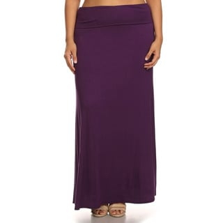 Women's Polyester and Spandex Plus-size Maxi Skirt