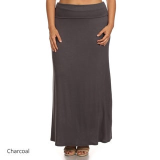 Women's Polyester and Spandex Plus-size Maxi Skirt (More options available)