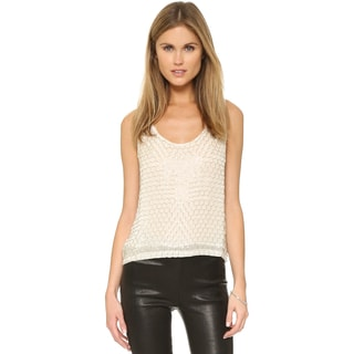 MLV Women's Ivory Viscose Beaded Tank Top