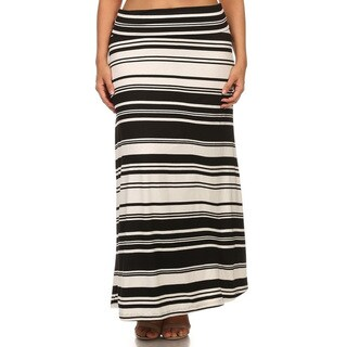 Women's Plus-size Striped Maxi Skirt