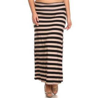 Women's Mocha Polyester Blend Plus Size Striped Skirt
