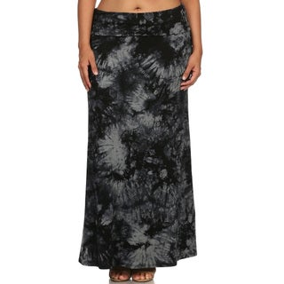 Women's Black Polyester/Spandex Plus Size Tie-dye Maxi Skirt