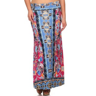 Women's Multicolor Polyester and Spandex Plus-size Floral Maxi Skirt