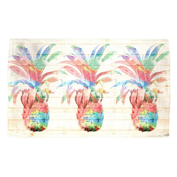 Laural Home Watercolor Pineapples Accent Rug - 4' x 6'