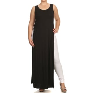 A Plus Style Apparel Black Polyester and Spandex Plus-size Double-slit