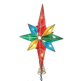 Kurt Adler 10-Light Multicolored Capiz Bethlehem Star Treetop with Gem Center