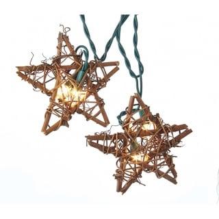 Kurt Adler 10-Light Rattan Natural Star Light Set