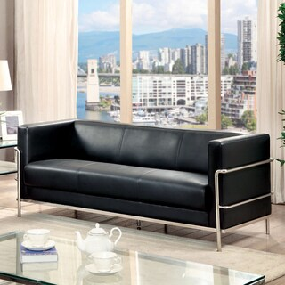 Furniture of America Sonica Contemporary Tuxedo Style Leatherette Sofa