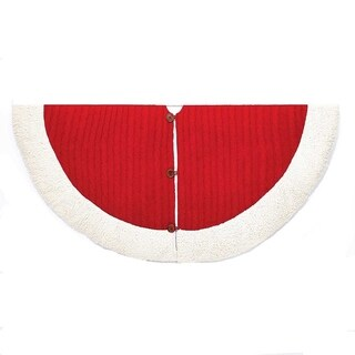 Kurt Adler 48-Inch Red and White Cable Knit Treeskirt