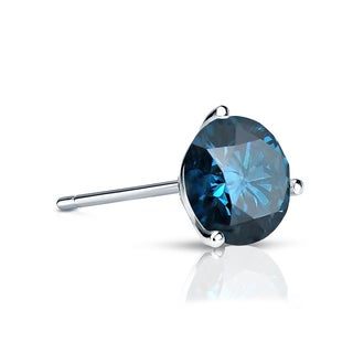 Auriya 14k Gold 1/4ct TDW 3-Prong Push-Back Round Cut Blue Diamond Single Stud Earring (Blue, SI2-SI3)