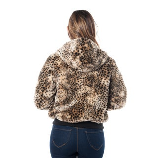 Special One Women's Leopard Print Faux Fur Lined 2-pocket Hooded Jacket