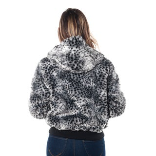 Special One Women's Leopard Print Faux Fur Lined 2-pocket Hooded Jacket