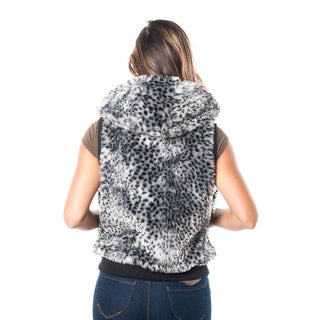 Special One Women's Leopard Print Faux Fur Lined 2-pocket Hooded Vest
