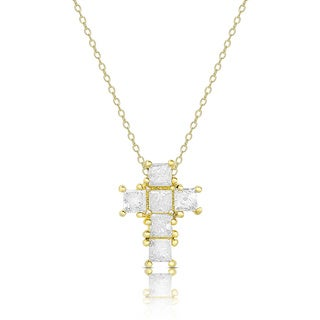 Finesque Gold Over Silver or Sterling Silver 1.14ct TDW Diamond Cross Necklace