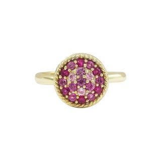 Luxiro Gold Finish Sterling Silver Lab-created Ruby and Cubic Zirconia Adjustable Ring