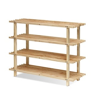Porch & Den Loridans Solid Pine Wood 4-tier Shoe Rack