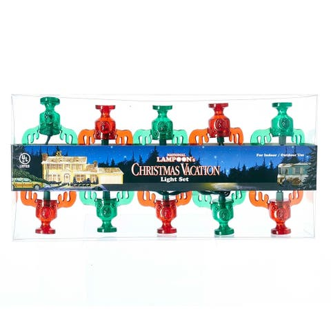 Kurt Adler 10-Light National Lampoon red and Green Wally World Moose Mug Light Set