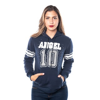 Special One Ladies' Cotton and Polyester Fleece Double-hood Sweatshirt, Embellished with Appliques