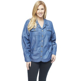 Live A Little Women's Blue Plus-size Notch Collar Jacket