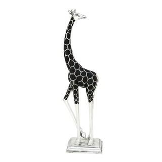 Benzara Inventive Black and Silver Polystone Giraffe Figurine