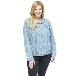 Live a Little Women's Plus Size Jacquard Denim Jean Jacket