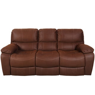 Porter Ramsey Brown Embossed Microfiber Dual Power Reclining Sofa