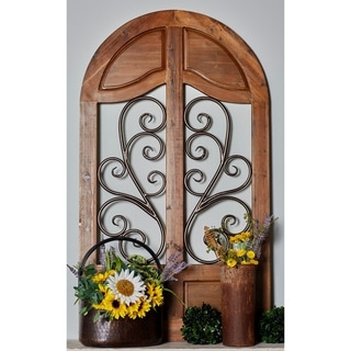 Rustic 58 Inch Wood and Iron Cathedral Window Wall Decor by Studio 350