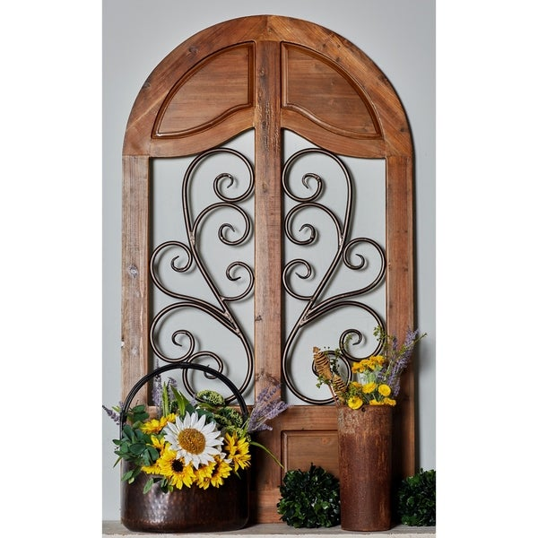 Shop Rustic 58 Inch Wood and Iron Cathedral Window Wall ...