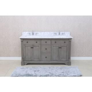 ari kitchen and bath stella 61 inch double bathroom vanity set - Bathroom Cabinets Grey