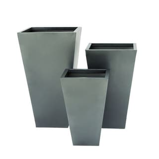 Set of 3 Modern 17, 21, and 25 Inch Gray Iron Planters by Studio 350