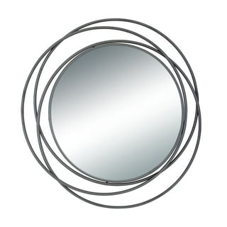 Benzara Black Metal Round Wall Mirror