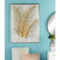 "Glam Style Metallic Gold Leaf Palm Fronds Acrylic Painting in Rectangular Metallic Wood Frame 36"" x 48"" - Grey"