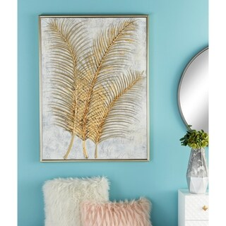 Natural 48 Inch Wood and Polystone Framed Canvas Art by Studio 350 - GOLD