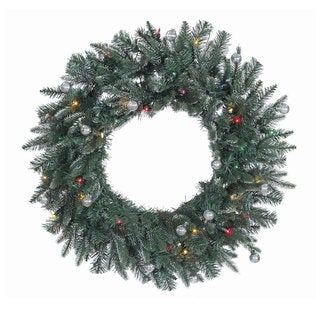 30-inch Crystal Balsam Wreath with 50 Multi-Colored Dura-Lit Lights