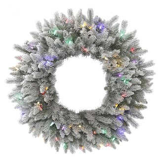 Vickerman 30-inch Frosted Sable Pine Wreath with 50 Multicolored LED Lights