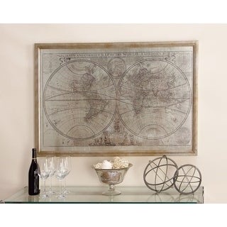 Benzara Vintage World Map Wood Frame and Glass Wall Art