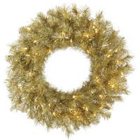 Gold/Silver 24-inch Tinsel Wreath with 50 Clear Lights