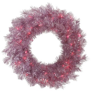 Vickerman Orchid Pink Tinsel 24-inch Wreath with 50 Pink Lights